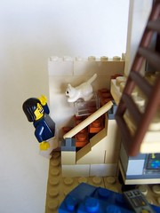 vignette of my house dad jumped by cat on stairs (Imagine) Tags: house stairs cat toys rat lego minifigs vignette levels moclegomocs