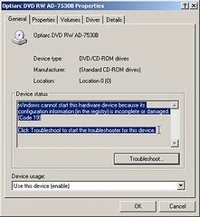CD/DVD Drive error code 19