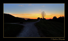 A Walk Into The Sunset (Osgoldcross Photography) Tags: blue sunset shadow sky orange tree fuji dusk path platform contrails shrubs silhoutte hdr gravel motte 3xp fujis9500 handheldhdr