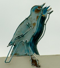 all these squawking birds won't quit (Dave van Hulsteyn) Tags: bird broken sign vintage rust peeling paint neon holtblvd business10 twitterbird oldhistoricushighway99
