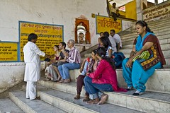 Pushkar sarowar - Some people performing puja and some sitting Idle (Sapna Kapoor) Tags: india religion pushkar puja rajasthan sarowar