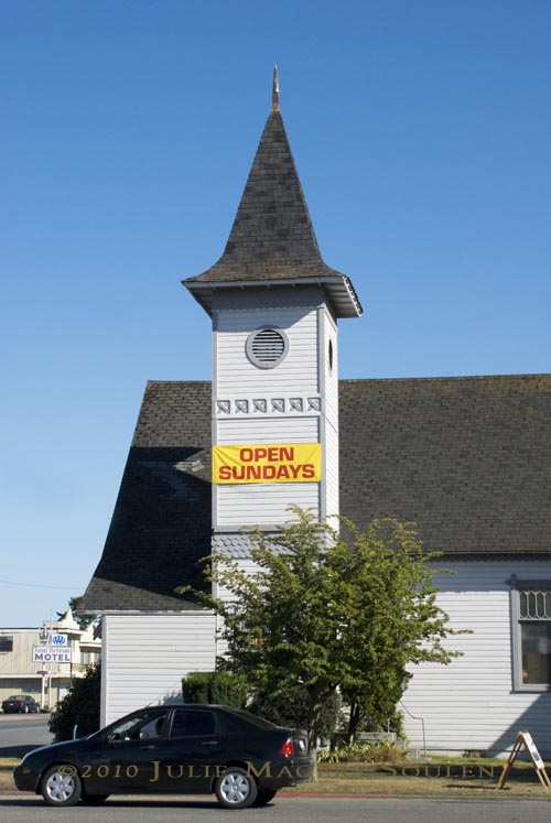 Church with Open Sunday sign
