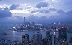 Kowloon Skyline from Braemar Hill (Sarmu) Tags: china city light sunset wallpaper urban building skyline architecture night skyscraper landscape hongkong lights twilight highresolution downtown cityscape view skyscrapers nightshot harbour widescreen 1600 highdefinition resolution 1200 cbd hd bluehour wallpapers  kowloon icc  1920 vantage vantagepoint ws victoriaharbour 1080 1050 720p 1080p urbanity   1680 720 2560 braemarhill internationalcommercecentre sarmu