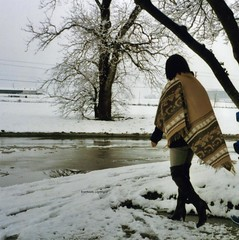 Cold day (Foxywalk) Tags: portrait brown leather lady asian boots chinese tan heel  thighhigh costumenational overtheknee