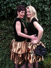 Golden sisters (Paula Satijn) Tags: ladies girls friends stockings beauty sisters gold shiny dress skirt metalic cocktaildress
