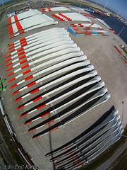 Wind turbine blades in Eemshaven, Groningen (KAPturer) Tags: kite mill harbor wind harbour delta aerial fromabove kap groningen birdseyeview turbine blades kiteaerialphotography nighthawk luchtfoto vanboven vlieger eemshaven vliegerfoto alphaventus dunecam kapturer yhdc5170