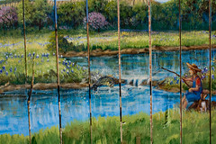 Dueling Banjos (HogueLikeWoah) Tags: dog art nature fence river painting flow interesting pretty bass country tourist stop nascar redneck relaxation exploration caught trap picket hick yeehaw skoal stawhat