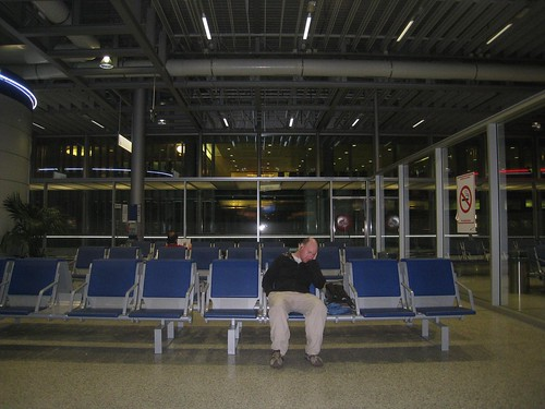 Catching up on sleep at the Geneva airport