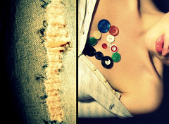 mend. (holly katherine <3) Tags: diptych buttons ripped jeans