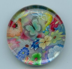 Polymer Clay and Glass Magnet (Jenn Edwards Designs) Tags: art glass floral butterfly ooak clay gift ladybug jenn marble edwards bauble magnet polymer
