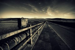 (andrewlee1967) Tags: uk light shadow england blackandwhite bw wall sepia fence britain pavement wideangle lancashire pump gb drystone whitelines sigma1020mm 10mm andrewlee 50d mywinners andrewlee1967 canon50d denshaw crockgatereservoir