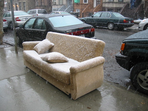 snowy couch