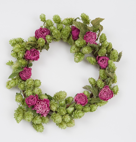 Wreath with hops and peonies by Elissa Shaffo