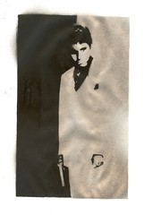 scarface (solvent drenched plagiariser) Tags: poster graffiti gangster stencil shiny gun monotone spraypaint scarface alpacino