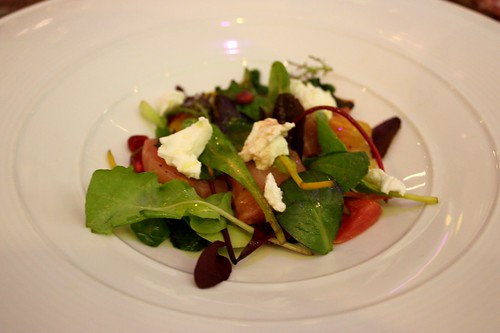 Fantastic salad of roasted beetroots, blood oranges and fresh goats cheese with a mint-pomegranate dressing