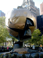 Battery Park, New York City (PJSherris) Tags: world newyorkcity ny monument globe worldtradecenter landmark olympus center historic batterypark historical trade survivor olympusc4040z c4040z