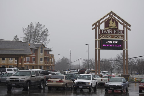 The Pomo Indians are doing a bang up business at their new casino. Sunday afternoon in the rain and the lot was full.