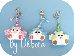 Chaveiros (Dbora Campos) Tags: handmade artesanato feitomo felt coruja feltro portachaves owls chaves tecido acessrios feutrine chaveiros fieltro dboracampos