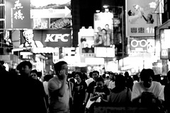 67/365 - People Mountain People Sea (goodbyebyesunday) Tags: people signs night hongkong lights blackwhite mongkok day67 crowded peoplemountainpeoplesea 人山人海 project365
