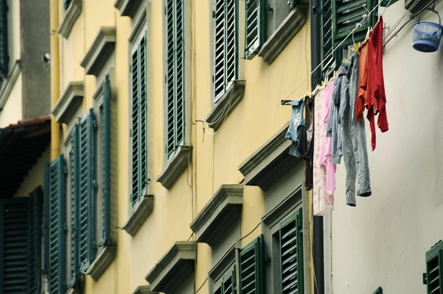 Green Shutters and Fresh Laundry