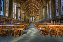 Hogwarts School of Witchcraft & Wizardry (Jeff Engelhardt) Tags: seattle wood light uw window photoshop canon table washington chair university cathedral library huskies stainedglass books rows hdr highdynamicrange suzzallo photomatix 40d jeffengel jeffengelhardt uwstroll0904