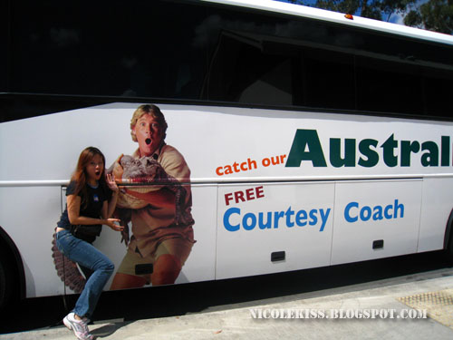 posing with steve irwin bus