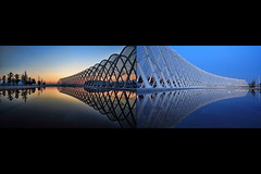 calatrava fire and ice:  133/365 (helen sotiriadis) Tags: blue sunset orange ice water architecture canon fire diptych athens greece calatrava canon350d 365 olympics santiago