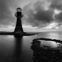 Whiteford Point Lighthouse II (Adam Clutterbuck) Tags: ocean uk longexposure greatbritain sea england blackandwhite bw lighthouse seascape monochrome wales square island mono coast blackwhite unitedkingdom britain bn coastal shore elements gb castiron gower bandw sq oe whitford greengage llanmadoc adamclutterbuck sqbw bwsq showinrecentset whitefordpoint openedition