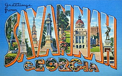 Greetings from Savannah Georgia postcard (Smaddy) Tags: monument ga georgia 1930s postcard savannah 1939 greetingsfrom largeletter tichnor