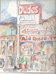 DUDE MOTEL NUMBER THREE (roberthuffstutter) Tags: art project motel pottedplants americana 1960s watercolors copy ontheroad claypots aircooled transients watercolorpencil oldmotel cocktaillounges huffstutter fiftyyearsago nowateradded usa1960s dudesmotel3 inroomtv