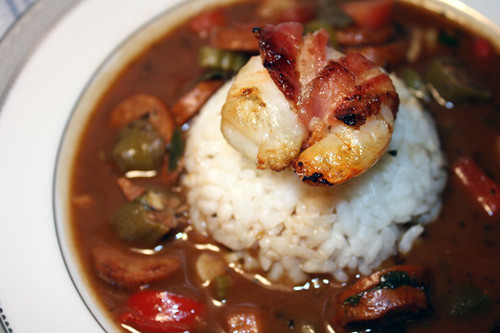 Spicy Gumbo with Andouille and Bacon Wrapped Shrimp 3