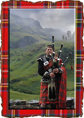 DUC #266 - PIPER FROM PIPES (mark_rutley) Tags: music mist castle scotland highlands cords pipes hills burnt piper bagpipes base tartan chanter drone downunderchallenge
