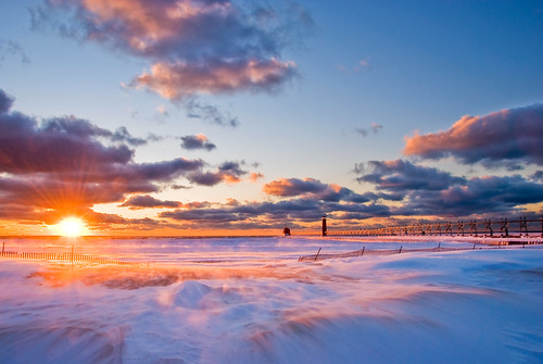 Winter Sunset in Grand Haven