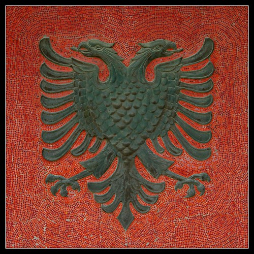 The double-headed eagle of Skenderbeg, symbol of Albania