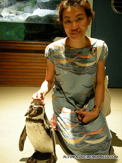 Rachel with Pinky the Penguin