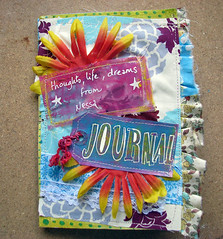 JOurnal for Nessa (Pretty Arty) Tags: flower color scrapbook mixed freestyle media journal fabric