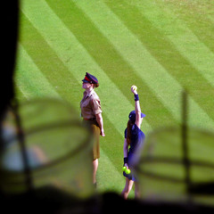 centre court ball girl (gorgeoux) Tags: uk green london girl grass sunshine ball court glasses centre sunny plastic wimbledon 2009 straws pimms chezgorgeoux