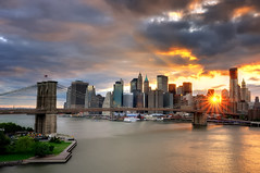Sunset over the Brooklyn Bridge and Lower Manhattan, New York City (andrew c mace) Tags: city nyc newyorkcity sunset newyork skyline brooklyn cityscape manhattan lowereastside tokina1224 financialdistrict southstreetseaport brooklynbridge manhattanbridge eastriver dowtown lowermanhattan woolworthbuilding brooklynbridgepark photomatix blendedexposures beekmantower nikoncapturenx nikond90