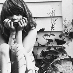 brokenheartsanddirtywindows (yyellowbird) Tags: bw plants selfportrait girl square lolita grainy cari