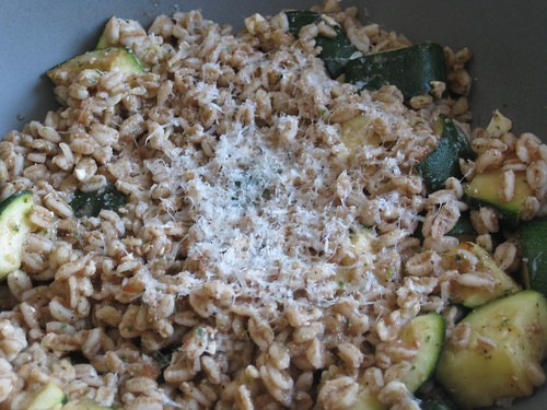 Roasted zucchini and farro