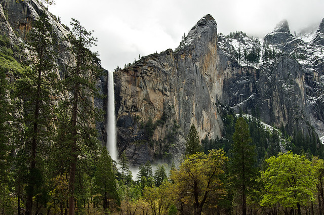 Bridalveil Fall after spring snow