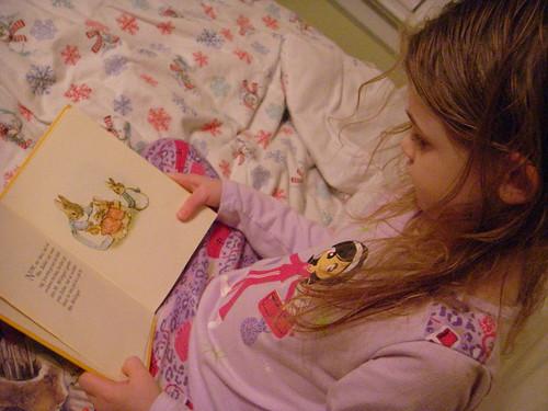 reading favorite books before bedtime