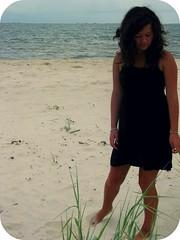 Dauphin Island. (MC;) Tags: ocean sea plant black green love nature girl hair freedom italian sand perfect dress tan curly curlyhair blackdress dauphinisland italiangirl