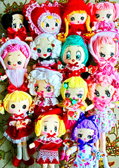Valentines Day Dollies (boopsie.daisy) Tags: pink flowers girls red roses white cute love rose vintage hearts dolls day purple heart sweet handmade girly inspired curls kitsch polka plush homemade precious bow daisy valentines lacey dots darling girlie bows frilly boopsie boopsiedaisy