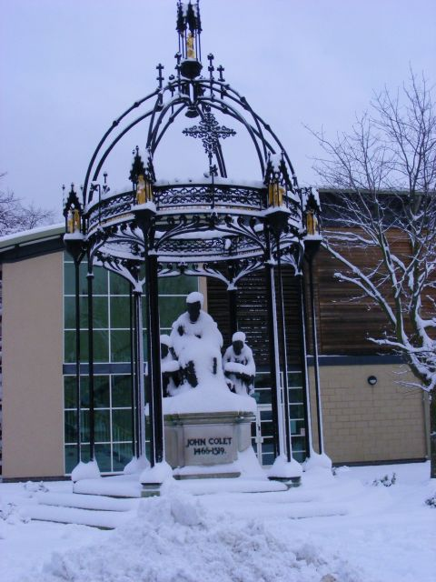 John Colet Statue looking rather cold
