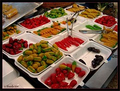 Colours of Thailand ~ Khanom (Ursula in Aus (Away)) Tags: red food colour green yellow thailand bangkok desserts sweets internationalfood khanom   earthasia