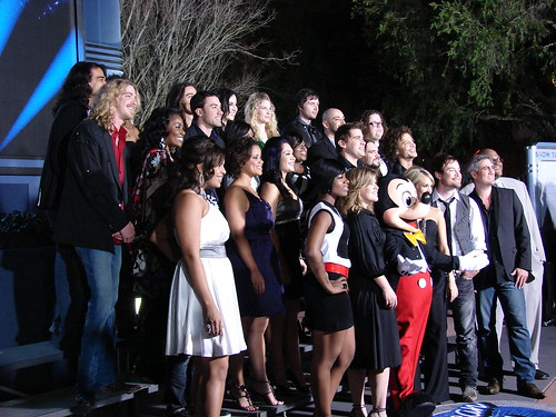 The Idols pose with Mickey. Photo by Mark Goldhaber.