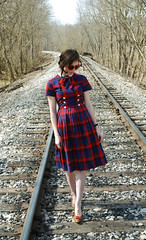 At the Train Tracks (strawberrykoi) Tags: girl train vintage japanese dress traintracks bow 1950s junior plaid schoolgirl eurasian halfasian peterpancollar