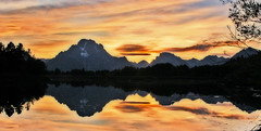 sunset at Oxbow Bend (shootin fool) Tags: sunset mountains reflection landscape scenic jackson wyoming oxbowbend