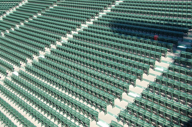 Fenway Park Tour Opening Day (-Eve) 2009 Outfield bleachers and Ted Williams lone red seat by Chris Devers